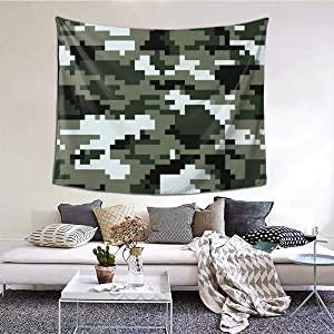 ANNBITION Tapestry Funny 8 Bit Pixel Digital Urban Camouflage Camo Wall Hanging Home Decor for Living Room Bedroom Dorm Room 60 W X 51 H Inches