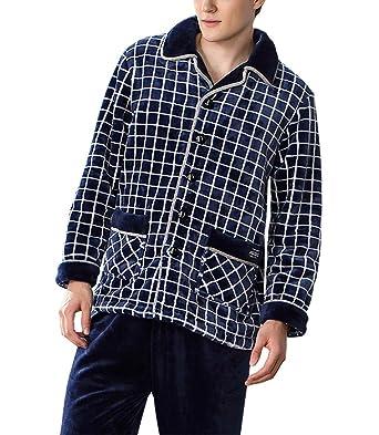 Pijama de terciopelo de coral para hombre Traje acolchado de franela fina (Color : Azul