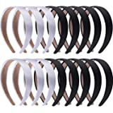SIQUK 16 Pieces Satin Headbands 1 Inch Black and Silver Hairbands Ribbon Headband DIY Hair Accessories for for Women and Girls