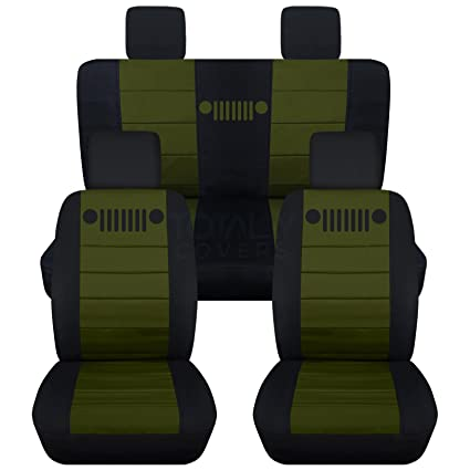 Jeep Wrangler Seat Covers >> 2007 2010 Jeep Wrangler Jk Seat Covers Black Hunter Green Full Set Front Rear 23 Colors 2008 2009 2 Door 4 Door Complete Back Solid Split