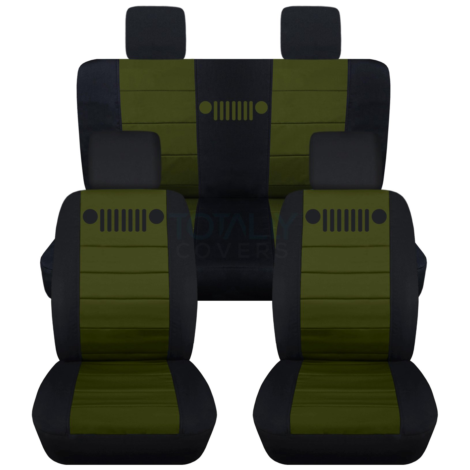 Totally Covers Fits 2007-2010 Jeep Wrangler JK Seat Covers: Black & Hunter Green - Full Set: Front & Rear (23 Colors) 2008 2009 2-Door/4-Door Complete Back Solid/Split Bench