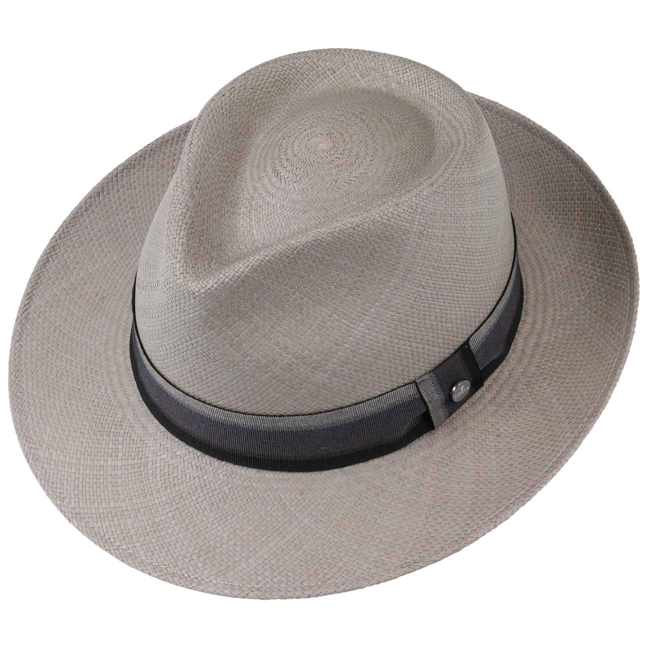 Made in Ecuador Estivo Paglia da Sole con Nastro Grosgrain Lierys Cappello Panama Grey Paradise Bogart Uomo Grosgrain Primavera//Estate