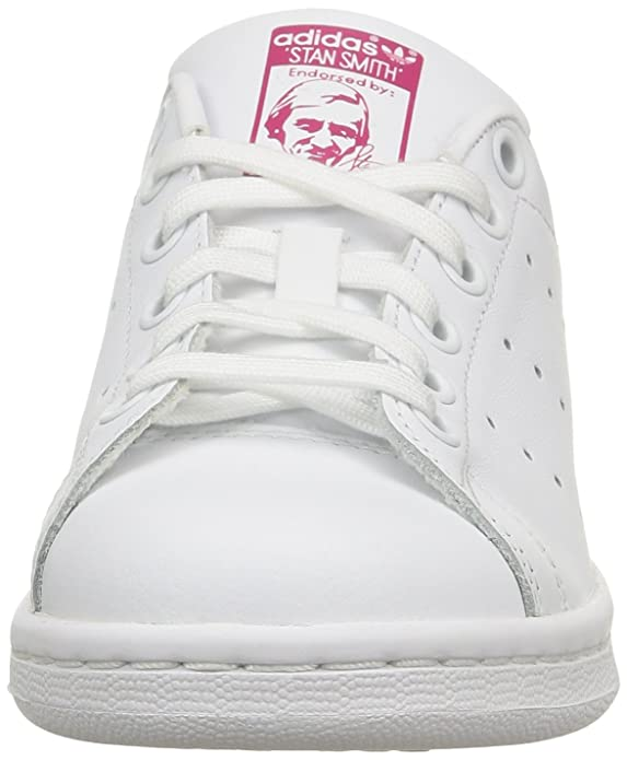4f90ab21f9 adidas Originals Stan Smith J White/Pink Leather 6.5 M US Big Kid