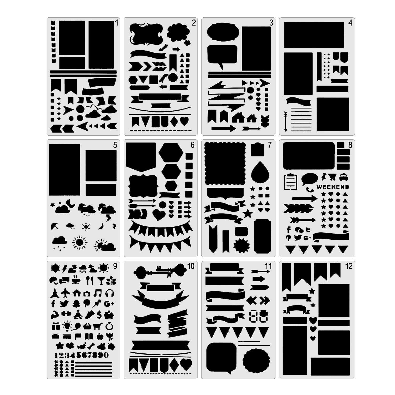 Bullet Gazzetta stencil Woclhj plastica fai da te set da disegno per diario notebook Craft scrapbook carta e progetti artistici–Confezione da 12