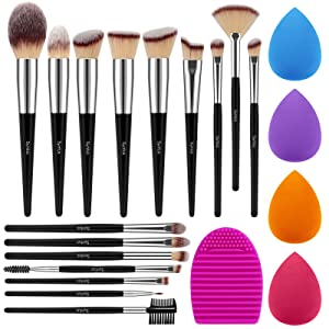 Syntus Makeup Brush Set, 16 Makeup Brushes & 4 Blender Sponges & 1 Brush Cleaner Premium Synthetic Foundation Powder Kabuki Blush Concealer Eye Shadow Black Silver Makeup Brush Kit