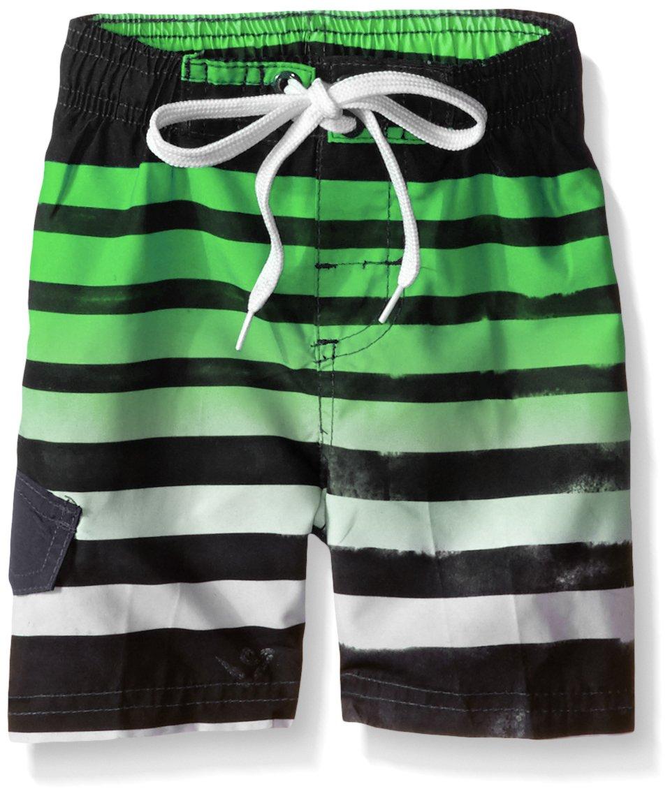 Kanu Surf Little Boys' Toddler Reflection Stripe Swim Trunk, Black/Green, 4T