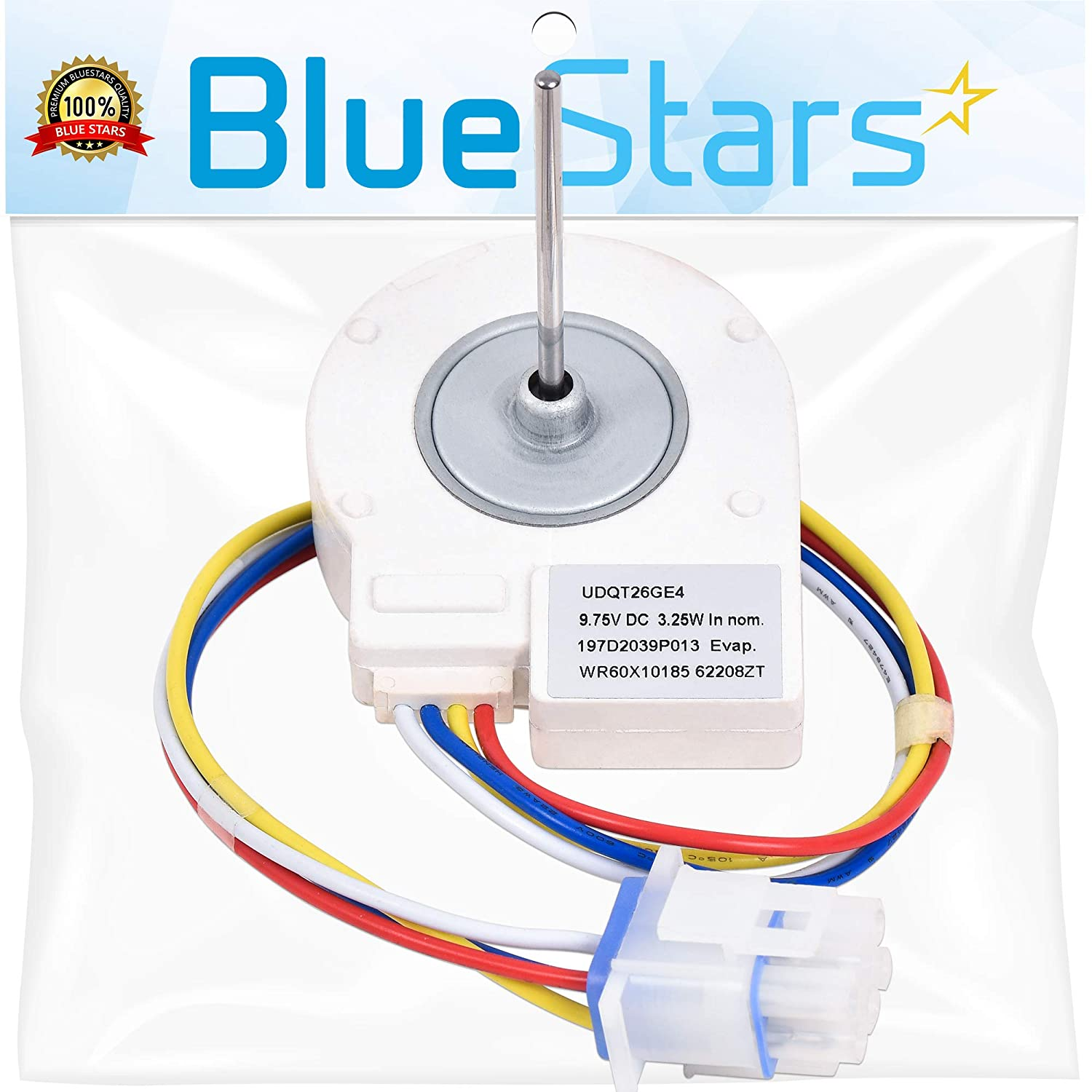 Ultra Durable WR60X10185 Evaporator Fan Motor Replacement Part by Blue Stars – Exact Fit For GE & Hotpoint Refrigerators – Replaces WR23X10353 WR23X10355 WR23X10364