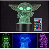 3 Pattern 3D Illusion Star Wars Night Light for Kids, 16 Color Change Decor Lamp - Star Wars Toys and Gifts Baby Yoda…