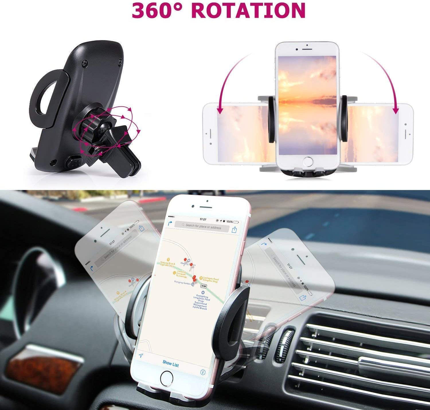 I Go Teck Car Smartphone Holder Hands Free with Dual USB 3.1A Charger with Over Charge and Over Current Protection Car Mount