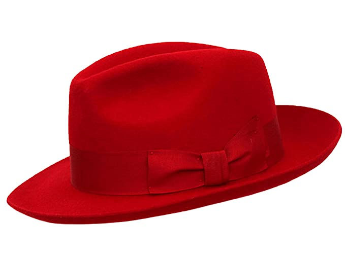 6ba519a3339 Image Unavailable. Image not available for. Colour  RED Ladies Fedora Felt  Trilby Hat ...