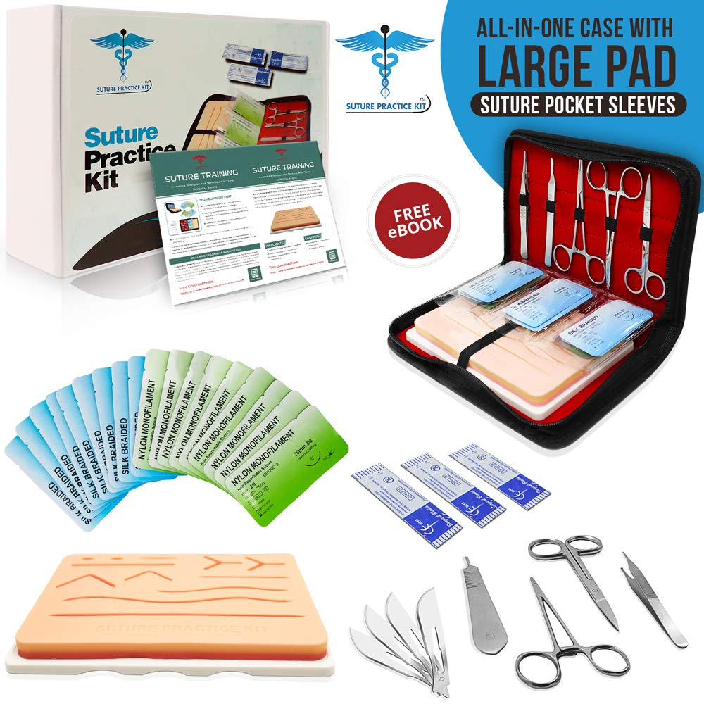 Suture Practice Kit w Suturing Guide E-Book,[Large Case Large Pad & Variety of Sutures w Slots] 4th Gen Pad, Tools Suture Needles by Medical Professionals for Residents Med Dental Vet School Students by Suture Practice Kit