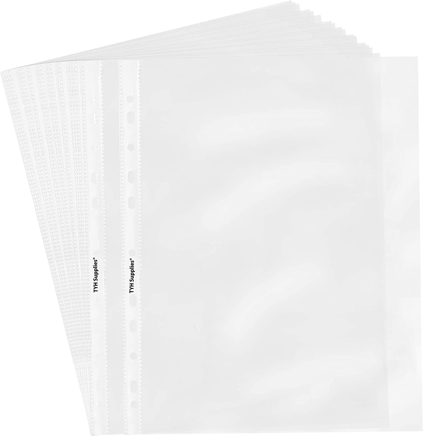 TYH Supplies 100 Pack Heavyweight Clear Sheet Protectors 8.5 x 11 Inch Top Loading Non Vinyl Acid Free 11 Hole