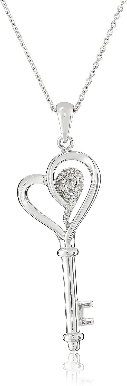 "Jewelili Sterling Silver Diamond accent Heart Key Pendant Necklace, 18"" Rolo Chain"