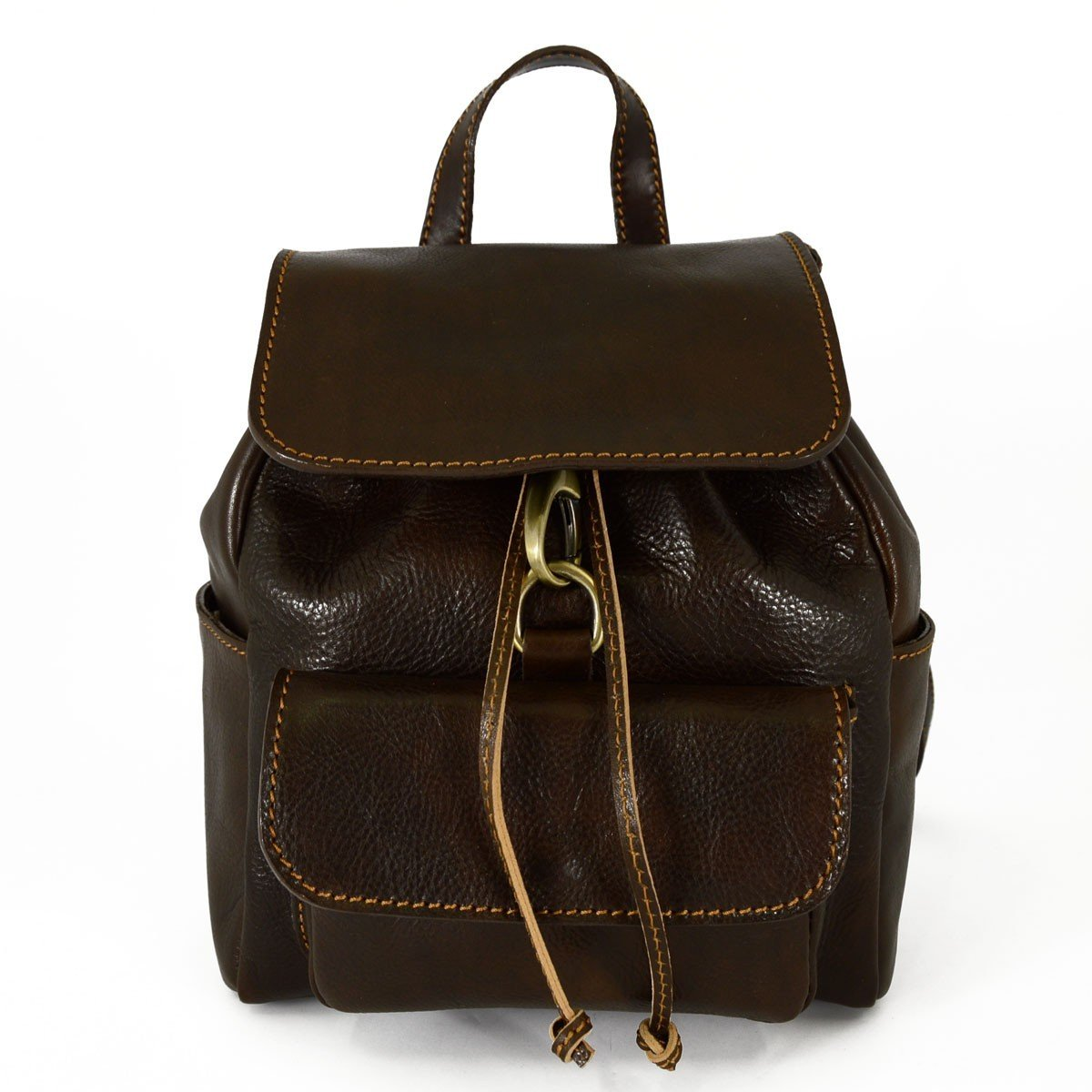 Made In Italy Genuine Leather Backpack With Carabiner And Adjustable Straps Color Dark Brown - Backpack B01E4Y6PYW