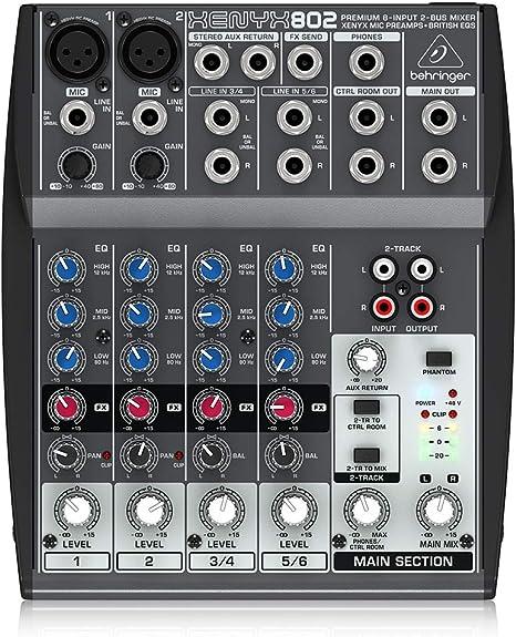 Behringer XENYX 802 color negro - Mezclador para DJ: Amazon.es: Instrumentos musicales