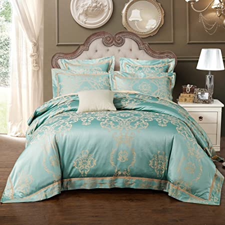 2 Pillowcases Flat Sheet Luxury Jacquard Satin Bedding Sets With Duvet Cover