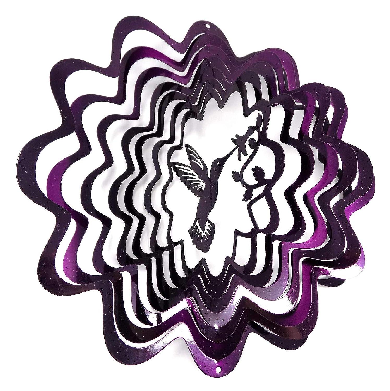 "WorldaWhirl Whirligig 3D Wind Spinner Hand Painted Stainless Steel Twister Hummingbird (12"" Inch, Purple)"