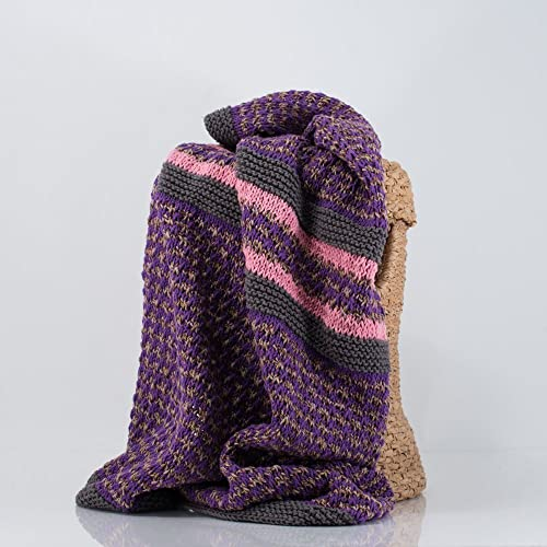 Amazon Hand Knit Baby Blanket Pink Gray And Purple