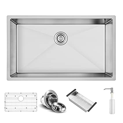 Harrahs 30.2 X 18.4 X 10 Inch Deep Stainless Steel Kitchen Sink Handmade  Drop In Undermount