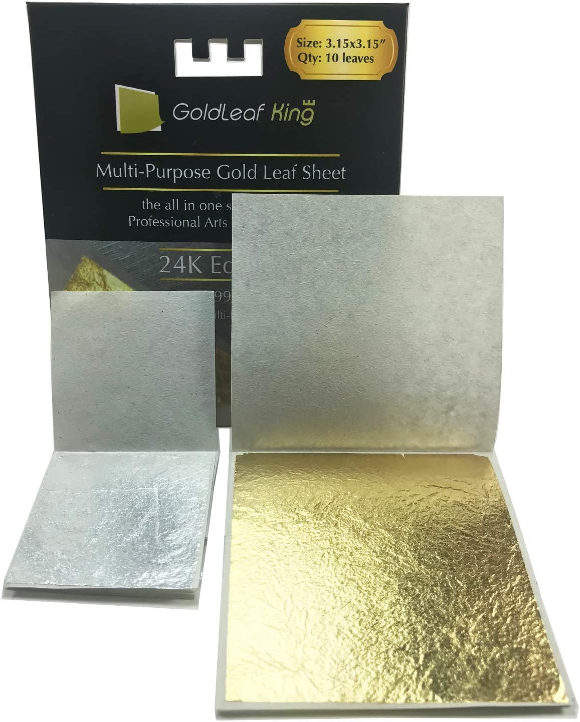 24K Edible Gold Leaf Sheets x 10 Sheet | Large 3.15 inches | Goldleafking | edibles Edible Paper Edible Cake Decorations Edible Paint 24k Gold foil Paper Gold Sheets | + Free Silver Leaf x 10