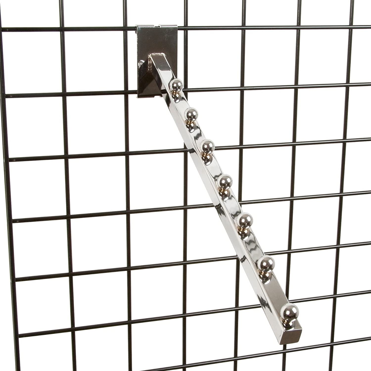 Chrome 2 Pack 7 Ball Gridwall Waterfall 18 L Square Tube Faceout Hook for Grid Panels