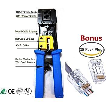 Amazon.com: RJ45 Crimp Tool for RJ-11, RJ-12 and RJ-45 - Bonus CAT6 ...