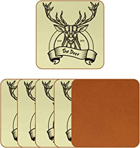 Coasters for Drinks Reindeer Head Unique Leather Square Mug Cup Pad Mat for Protect Furniture, Heat Resistant, Kitchen Bar Decor, Set of 6