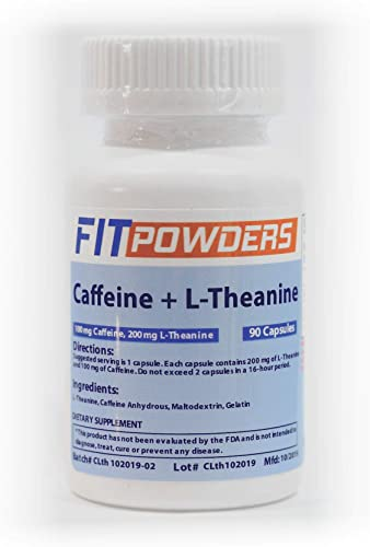 Caffeine and L-Theanine Capsules 90 Count Pills 100 mg Caffeine, 200 mg L-Theanine Energy Stack Supplement by FitPowders