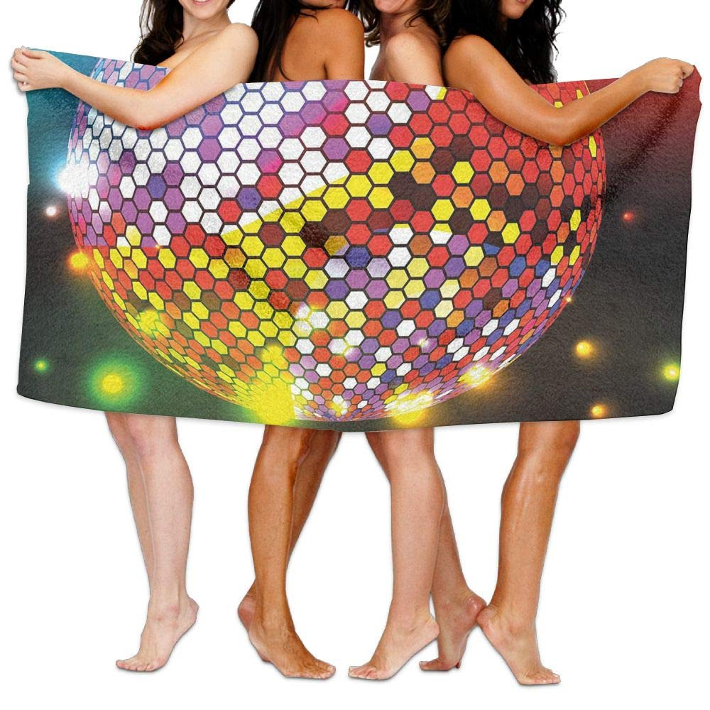Haixia Vibrant Bath Towel Beach/Bath/Pool Towel 51.2'' X 31.5'' Popstar Party Vibrant Colorful Disco Ball Nightclub Celebration Party Dance and Music Print Decorative