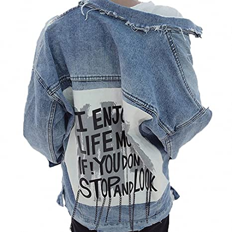 Huiwa Womens Denim Jacket Print Letter Vintage Ripped Jeans Jacket BF Style Blue One Size at Amazon Womens Coats Shop