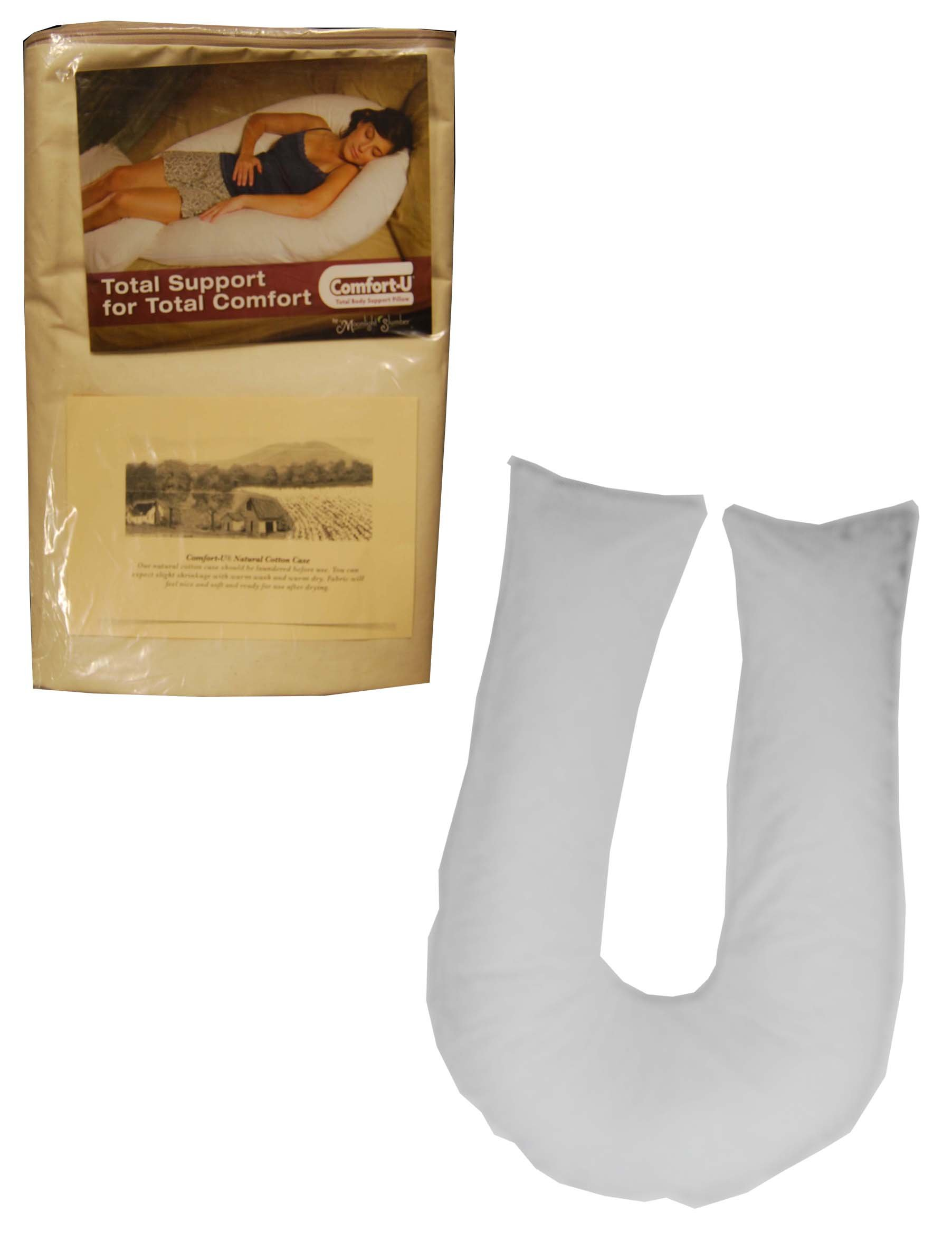 Comfort-U Total Body Full Support Pillow and an Additional 100% Cotton Natural Pillowcase(Package includes 2 Pillowcases)