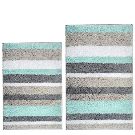 hebe bath rug set of 2 piece microfiber bathroom rugs sets non slip shag bath mat - Bathroom Rug Sets
