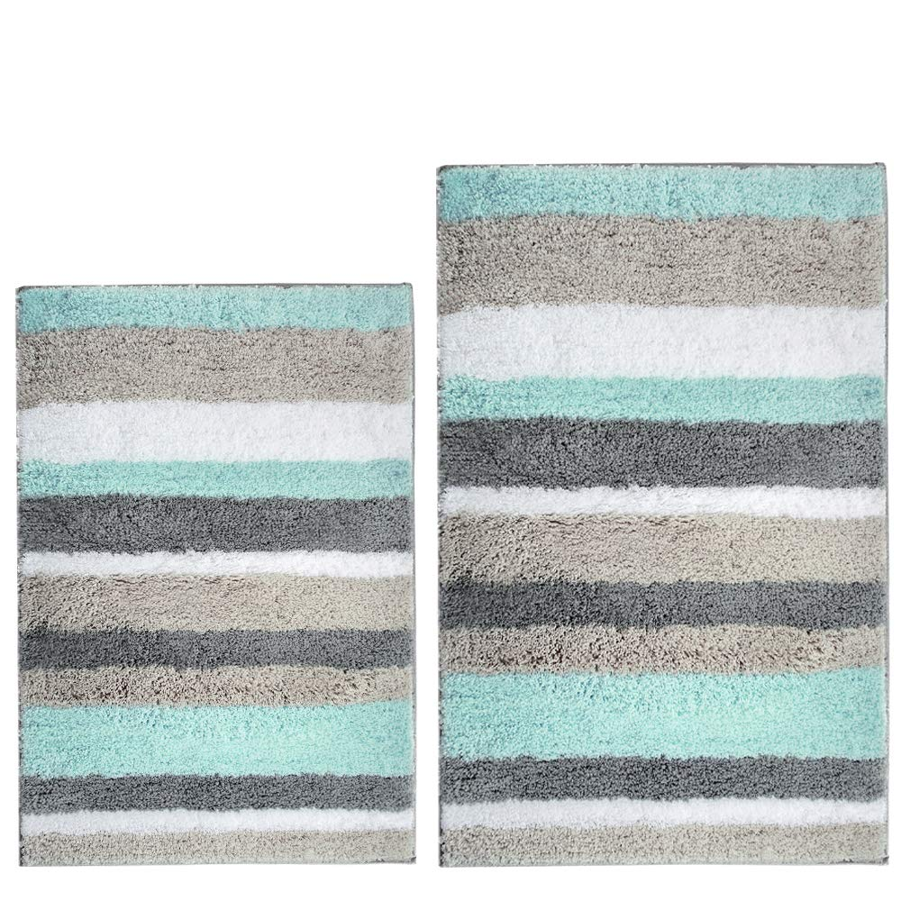 HEBE Bath Rug Set of 2 Piece Microfiber Bathroom Rugs Sets Non Slip Shag Bath Mat Rug for Bathroom Kitchen Bedroom Washable (26x18+32x20), Blue/Grey