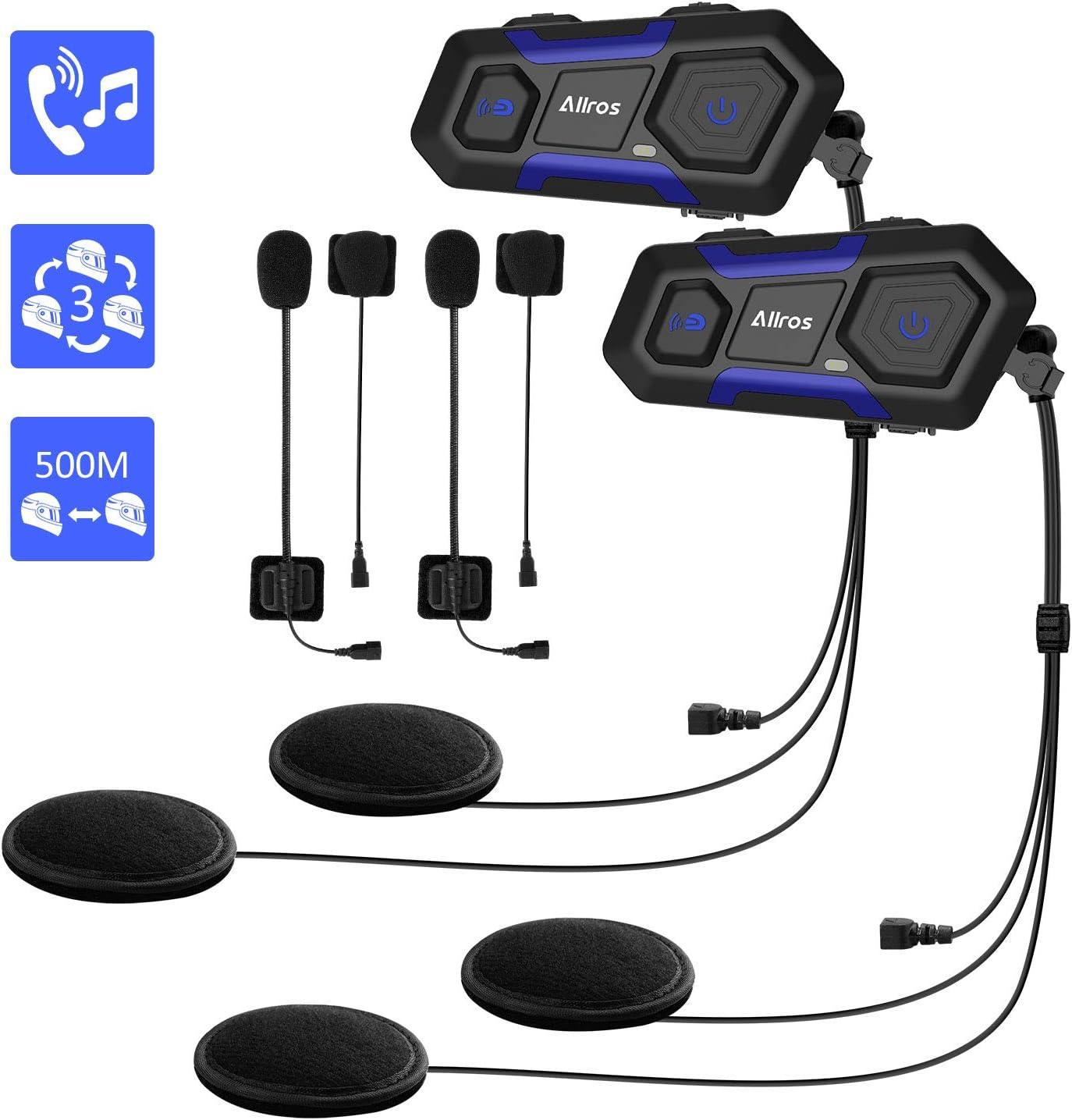 ALLROS T10 Auriculares Intercomunicador Moto Bluetooth