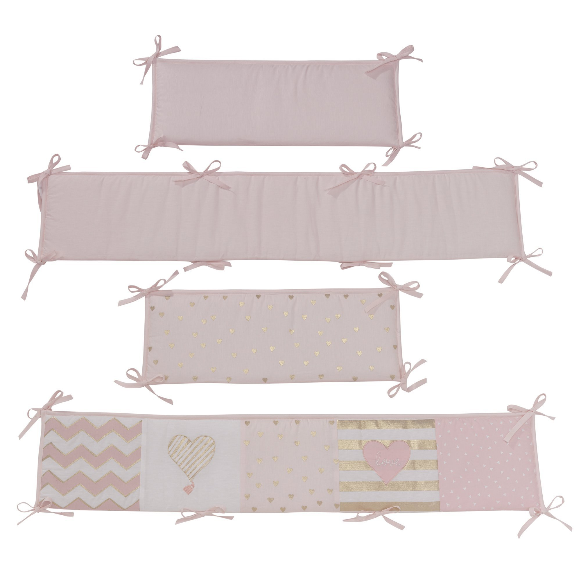 Lambs & Ivy Baby Love 4-Piece Crib Bumper - Pink/Gold/White with Hearts by Lambs & Ivy (Image #3)