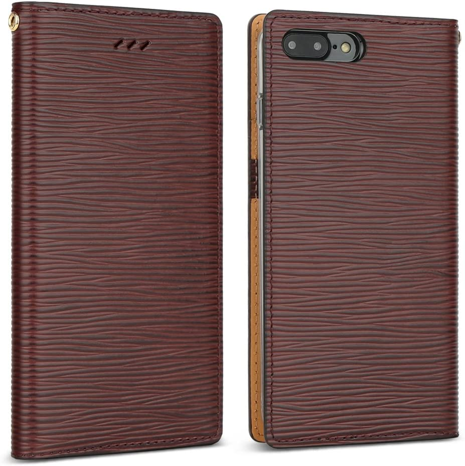 DesignSkin iPhone 8+ Flip Folio Wallet Case: 100% Leather That is Genuine Cowhide w/Card Slot & Cash Pocket for Apple iPhone 8 Plus / 7 Plus - Epi Dark Brown