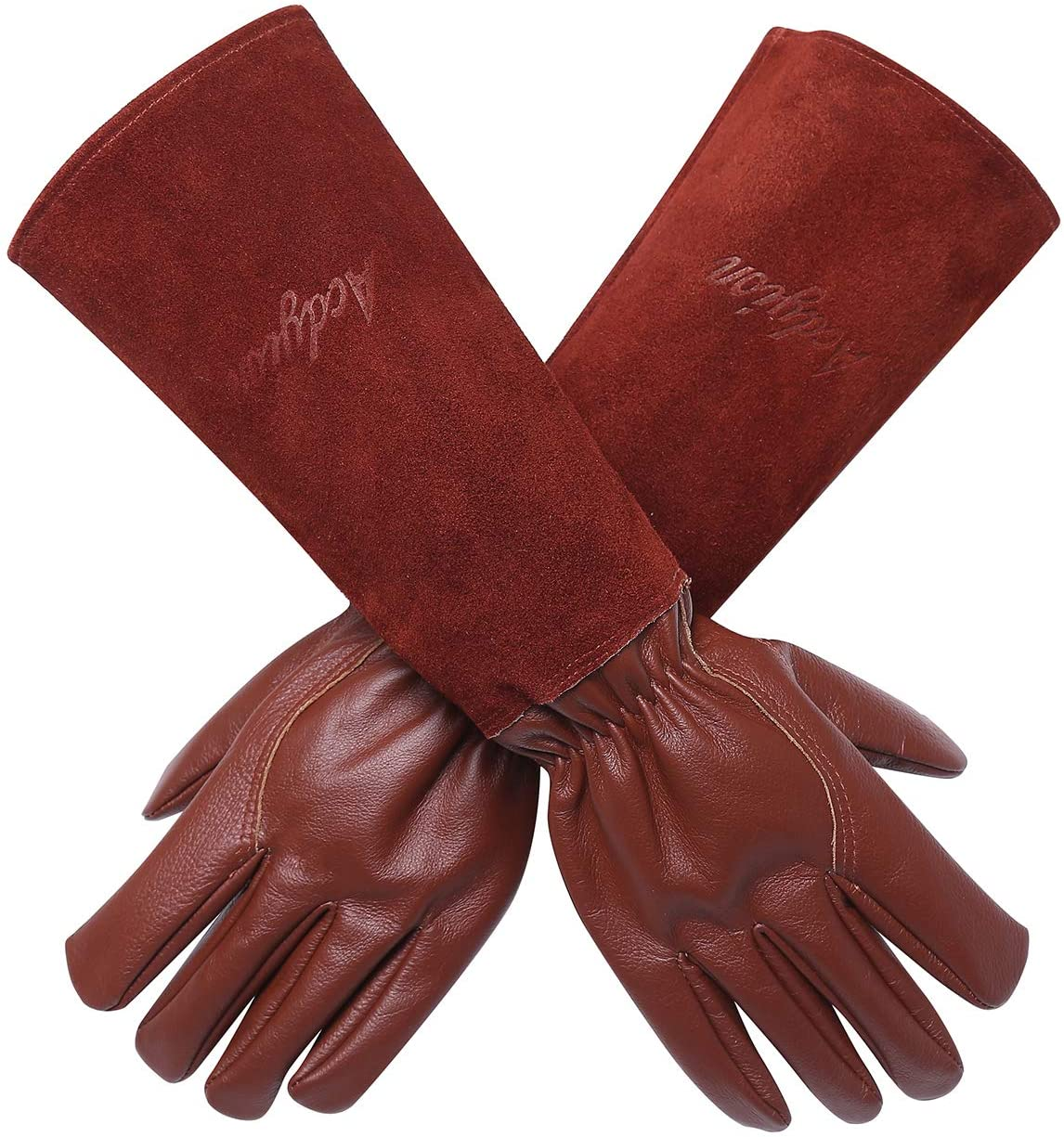 Acdyion Gardening Gloves for Women/Men Rose Pruning Thorn & Cut Proof Long Forearm Protection Gauntlet, Durable Thick Cowhide Leather Work Garden Gloves (Medium, Brown)