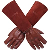 Gardening Gloves for Women/Men - Acdyion Rose Pruning Thorn & Cut Proof Long Forearm Protection Gauntlet, Durable Thick Cowhide Leather Work Garden Gloves (X-Small, Brown)