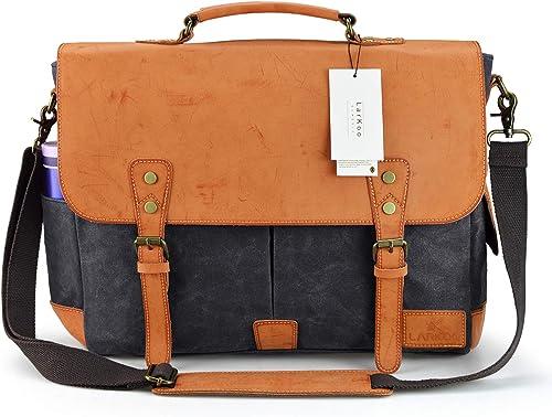 17 Inch Leather Vintage Canvas Messenger Bag