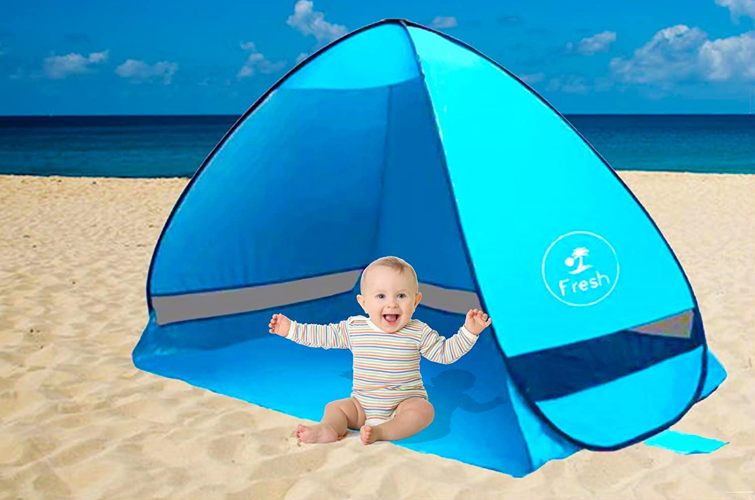 Pop Up Baby Beach Tent, Portable, UV Protection, Waterproof Tent for The Beach, The Park, Hiking, Picnics, Fishing or Camping (Blue) Do Right