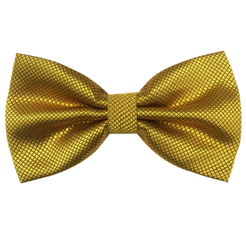 Mens Pre-tied Plaid Pattern Formal Bowties Banded Bow Ties (Gold)