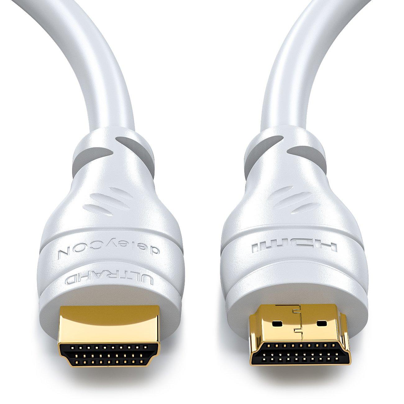 de alta velocidad con Ethernet deleyCON 25m Cable HDMI HDMI 2.0a compatible con//b // 1.4a UHD // 4K // HDR // 3D // 1080p // 2160p // ARC
