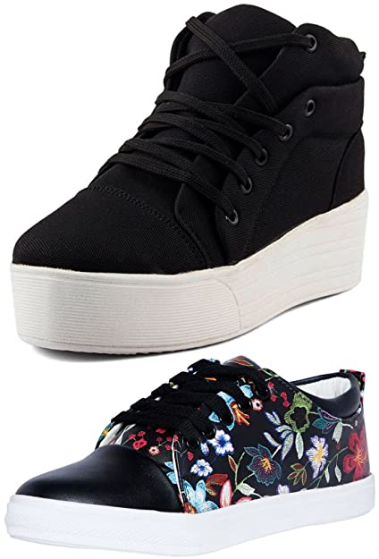 6a5c07229b0 Long Walk Combo Pack of 2 Sneaker Shoes for Women: Buy Online at Low ...