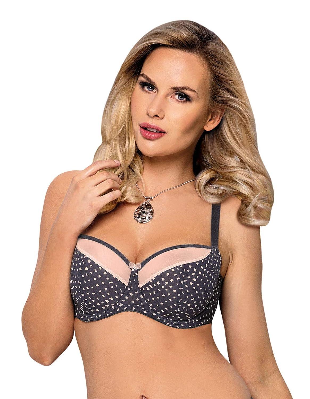 Vena VB-361 Womens Graphite Grey Spotted Semi Soft Bra