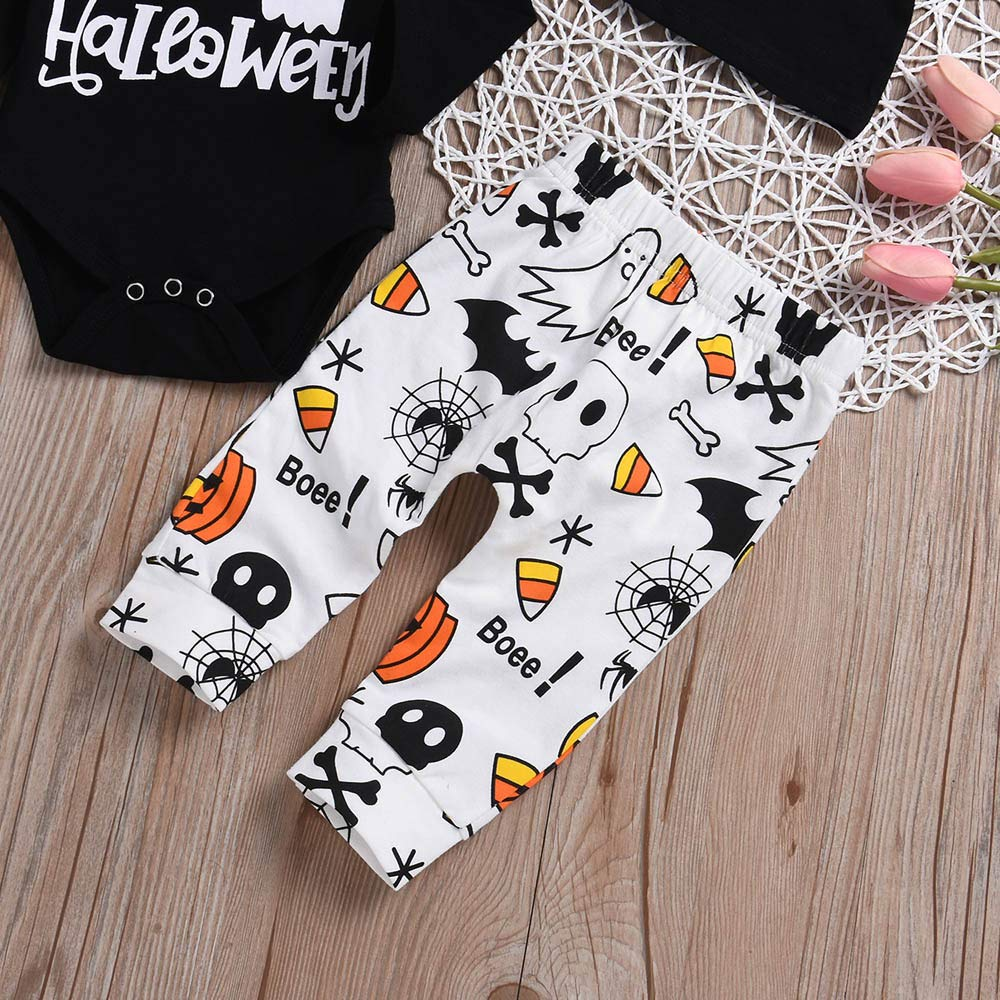 Toddler Halloween Clothing Boys,MONsin Baby My First Halloween Toddler Baby Girls Boys Romper Pants Hat Outfits Set