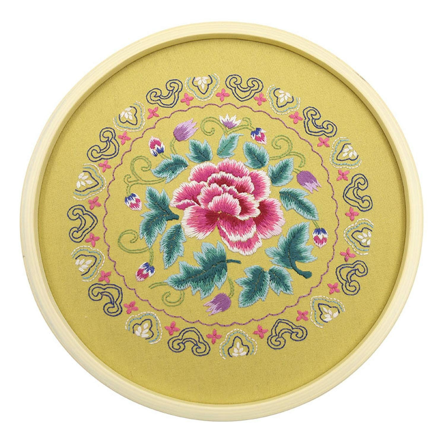 Chinese DIY Flowers Embroidery Kits with 30cm Bamboo Hoop Needlework Cross Stitch Set Handmade Art Craft Sewing Wall Painting,3,30CM Bamboo Hoop kit by koweis