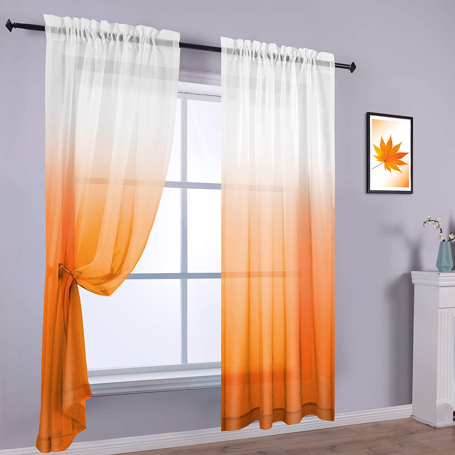 Amazon Com Orange Curtains 96 Inches Long For Dining Room Set 2 Panels Rod Pocket Voile Sheer Drapes Ombre Rainbow Tangerine Curtains For Bedroom Windows Living Kids Girls 96in Length Gradient Burnt Orange
