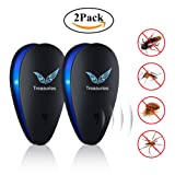 Ultrasonic Pest Repeller Upgraded 2018 by Treasuries (2 Pack) | Electronic Plug In Pest Control Indoor/Outdoor Use | 100% Human & Pet Safe Repellent | For Cockroach, Mosquitoes, Mice, Rats, Spiders, Bugs, Flies, Insects & More