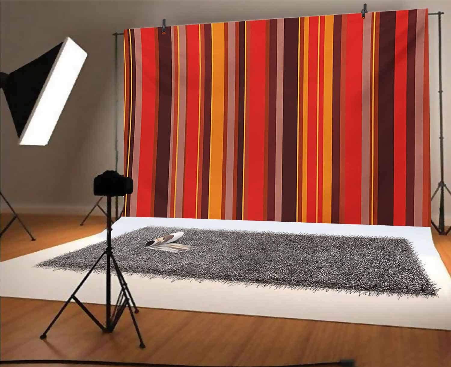 Geometric 12x10 FT Vinyl Photography Background Backdrops,Vertical Tiny and Thick Lines Striped Retro Style Graphic Pattern Artwork Background for Photo Backdrop Studio Props Photo Backdrop Wall