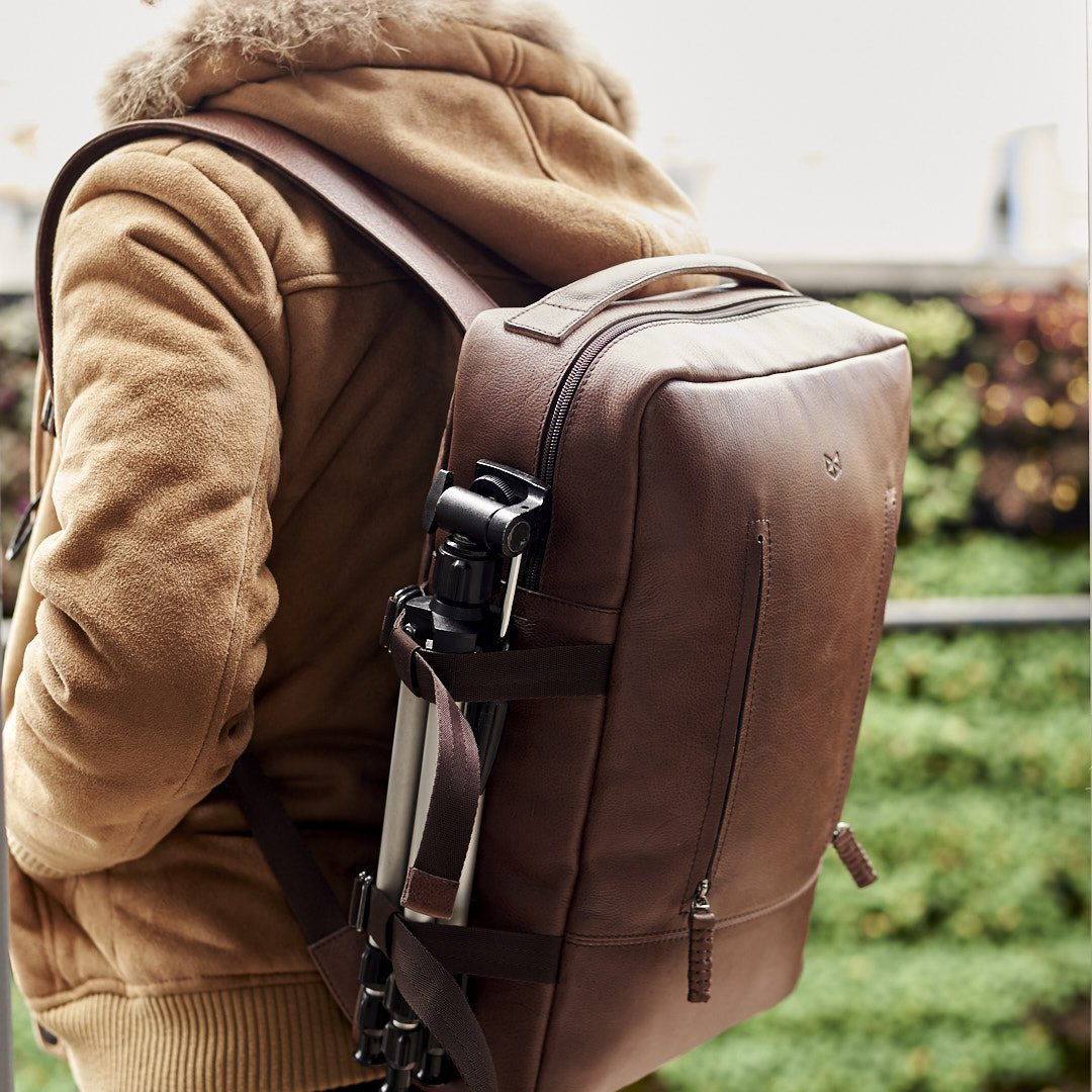 Handmade cool leather backpack rucksack for men. 13 inch laptop backpack, back to school, Designer traveling fashion bag. Personalized gifts for men, Mens bags // TAMARAO TOBACCO by Capra Leather